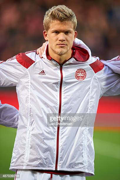 Andreas Cornelius of Denmark prior to the EURO 2016 U21 Playoff match between Denmark and Island at Aalborg Stadium on Oktober 10 2014 in Aalborg...