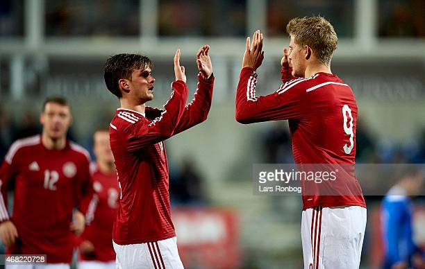 Andreas Cornelius of Denmark U21 celebrates with team mate Lucas Andersen after the 10 goal during the U21 International Friendly match between...
