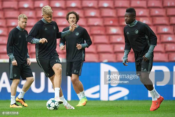Andreas Cornelius of FC Copenhagen and rest of the players of FC Copenhagen during last training prior to the UEFA Champions League group stage match...