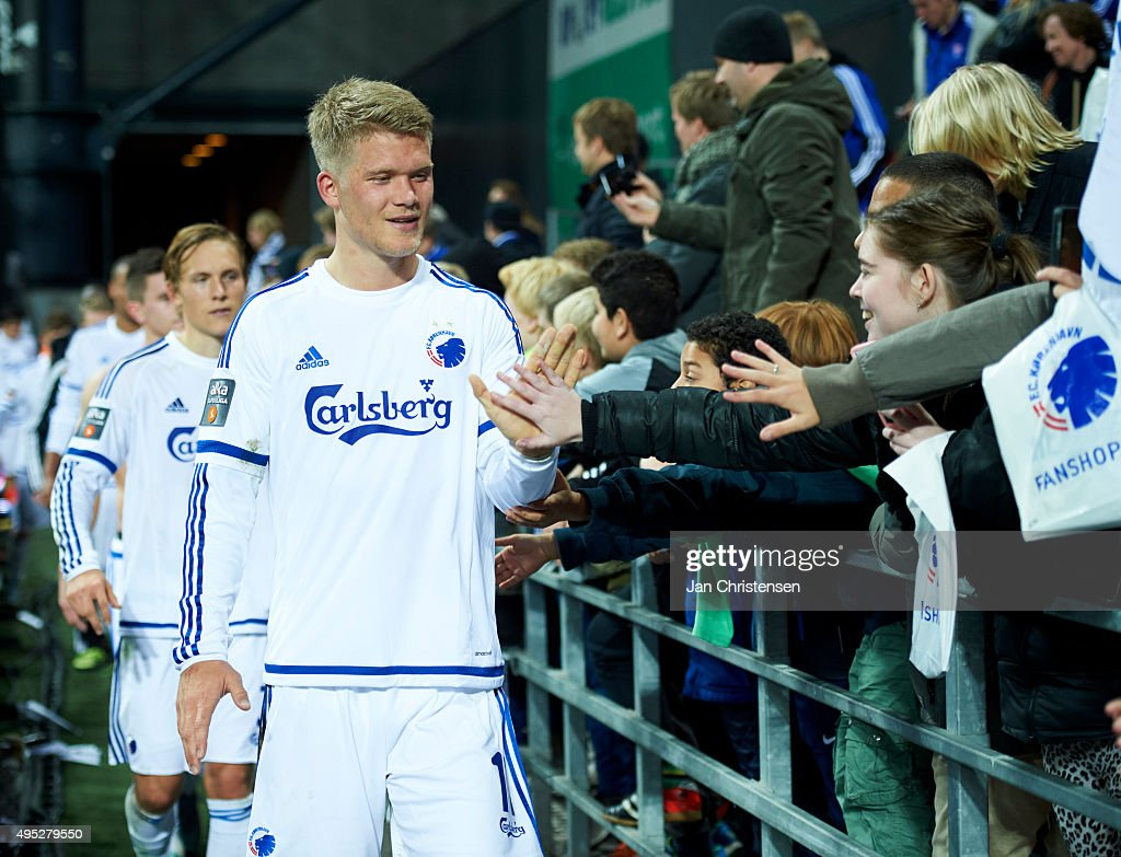 Andreas Cornelius of FC Copenhagen celebrate with fans after the Danish Alka Superliga match between FC Copenhagen and Randers FC at Telia Parken Stadium on November 01, 2015 in Copenhagen, Denmark.