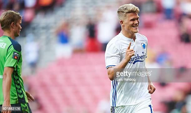 Andreas Cornelius of FC Copenhagen celebrates after scoring their second goal during the Danish Alka Superliga match between FC Copenhagen and OB...