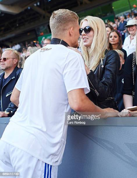 Andreas Cornelius of FC Copenhagen celebrates with his girlfriend after the Danish Alka Superliga match between FC Copenhagen and Sonderjyske at...