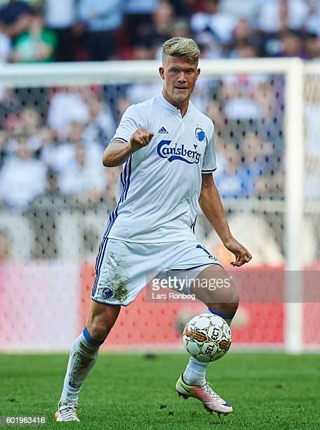 Andreas Cornelius of FC Copenhagen controls the ball during the Danish Alka Superliga match between FC Copenhagen and OB Odense at Telia Parken...