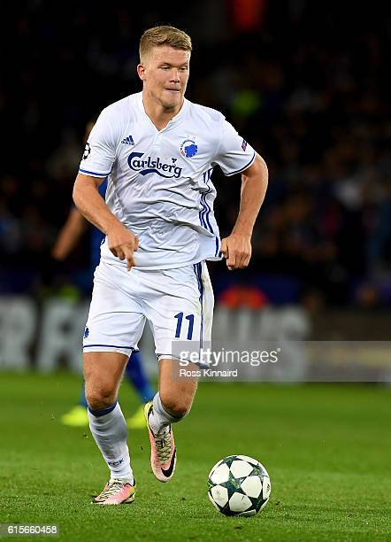 Andreas Cornelius of FC Copenhagen during the UEFA Champions League match between Leicester City FC and FC Copenhagen at The King Power Stadium on...