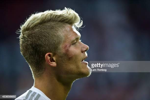 Andreas Cornelius of FC Copenhagen looks dejected after the Danish Superliga match between FC Copenhagen and FC Midtjylland at Parken Stadium on...
