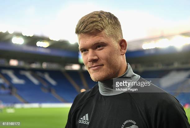 Andreas Cornelius of FC Copenhagen looks on during a FC Copenhagen training session and press conference at The King Power Stadium on October 17 2016...