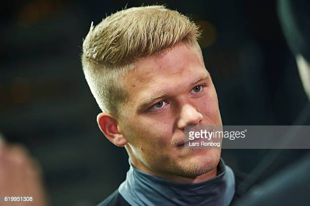 Andreas Cornelius of FC Copenhagen speaks to the media during the FC Copenhagen training and press conference ahead of the UEFA Champions League...
