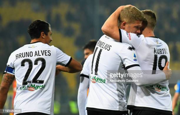 Andreas Cornelius of Parma Calcio celebrates after scoring his team second goal during the Serie A match between Parma Calcio and US Lecce at Stadio...