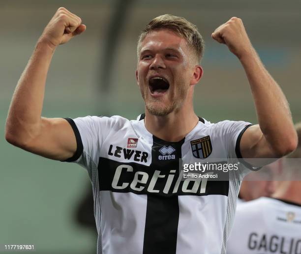 Andreas Cornelius of Parma Calcio celebrates his third goal during the Serie A match between Parma Calcio and Genoa CFC at Stadio Ennio Tardini on...