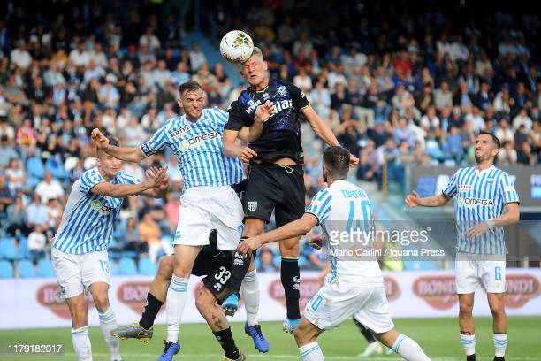 Andreas Cornelius of Parma Calcio heads the ball during the Serie A match between SPAL and Parma Calcio at Stadio Paolo Mazza on October 05 2019 in...