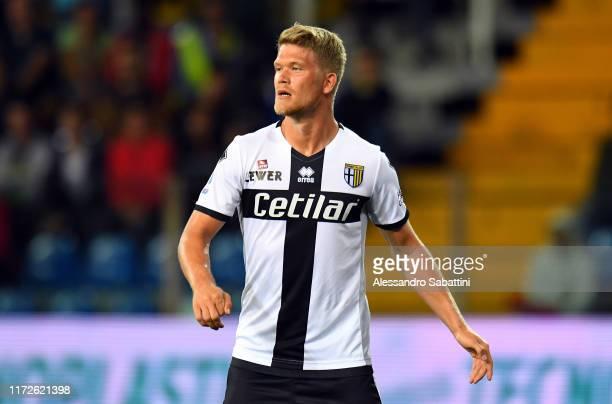Andreas Cornelius of Parma Calcio looks on during the Serie A match between Parma Calcio and Torino FC at Stadio Ennio Tardini on September 30, 2019...