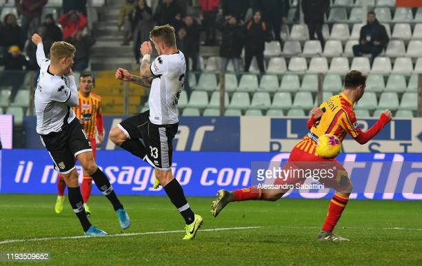 Andreas Cornelius of Parma Calcio scores his team second goal during the Serie A match between Parma Calcio and US Lecce at Stadio Ennio Tardini on...
