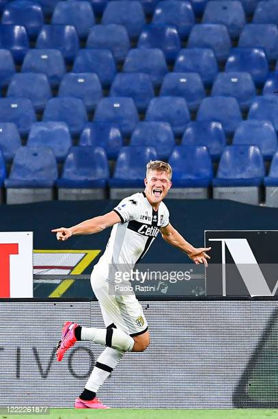 Andreas Cornelius of Parma celebrates after scoring his third goal during the Serie A match between Genoa CFC and Parma Calcio at Stadio Luigi...