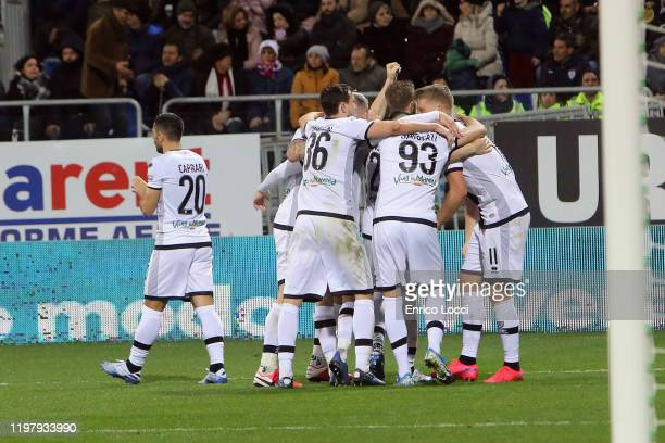 Andreas Cornelius of Parma celebrates his goal 22 during the Serie A match between Cagliari Calcio and Parma Calcio at Sardegna Arena on February 1...