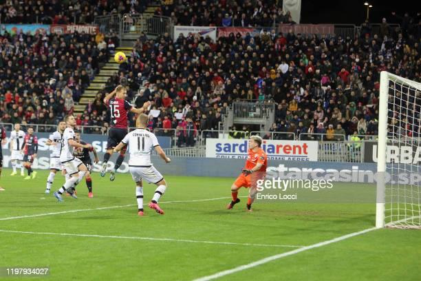 Andreas Cornelius of Parma scores his goal 22 during the Serie A match between Cagliari Calcio and Parma Calcio at Sardegna Arena on February 1 2020...