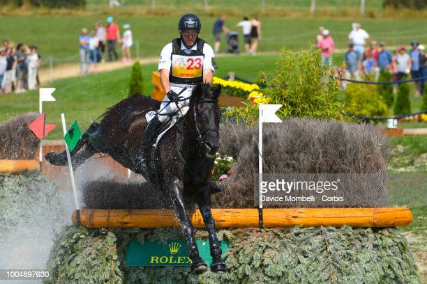 Andreas Dibowski of Germany riding FRH Butts Avedon during the obstacle in the water of the Cross Country test DHLPrize in the park of the CHIO of...