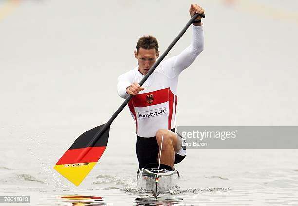 Andreas Dittmer of Germany in action during his C1 500m semifinal heat during the Canoe World Championship 2007 at the Regattabahn Wedau on August 10...