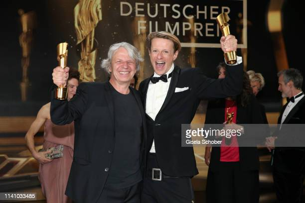 Andreas Dresen and Alexander Scheer with award during the Lola - German Film Award final applause at Palais am Funkturm on May 3, 2019 in Berlin,...