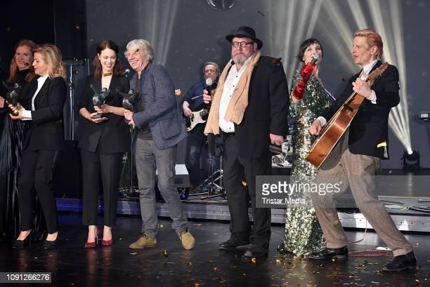Andreas Dresen, Walter Plathe, Meret Becker, Alexander Scheer during the B.Z. Kulturpreis 2019 at Volksbuehne on January 29, 2019 in Berlin, Germany.