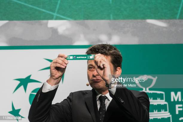 Andreas Egli picks out Australia during the draw ceremony of the Davis Cup finals