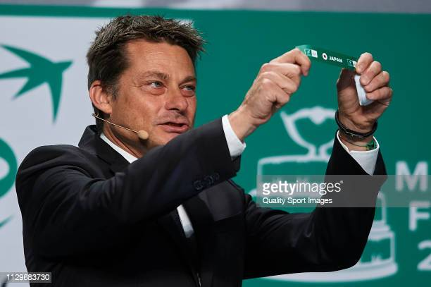 Andreas Egli picks out Japan during the draw ceremony of the Davis Cup Finals at Real Casa de Correos on February 14 2019 in Madrid Spain