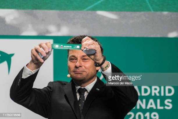 Andreas Egli picks out Russia during the draw ceremony of the Davis Cup finals.