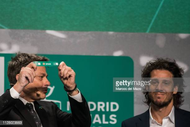 Andreas Egli picks out Spain during the draw ceremony of the Davis Cup finals