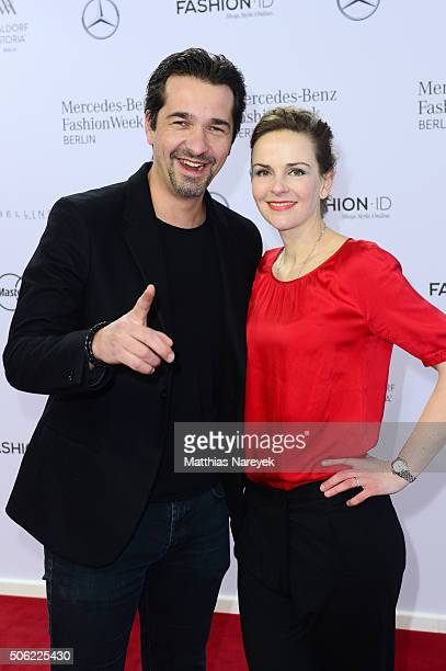 Andreas Elsholz and Denise Zich attend the Irene Luft show during the MercedesBenz Fashion Week Berlin Autumn/Winter 2016 at Brandenburg Gate on...