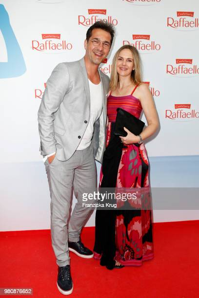 Andreas Elsholz and Denise Zich during the Raffaello Summer Day 2018 to celebrate the 28th anniversary of Raffaello at Villa von der Heydt on June 21...