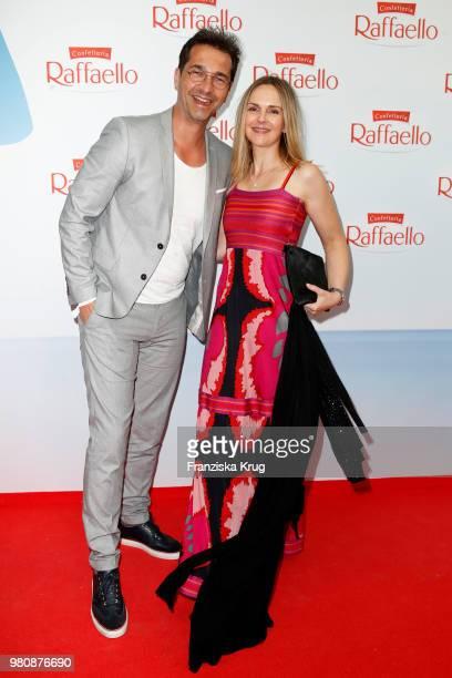 Andreas Elsholz and Denise Zich during the Raffaello Summer Day 2018 to celebrate the 28th anniversary of Raffaello at Villa von der Heydt on June 21...