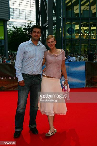Andreas Elsholz and wife Denise Zich at The Germany premiere of Batman Begins in the Sony Center in Berlin 150605