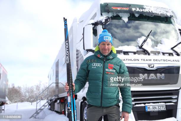 Andreas Emslander of Team Germany poses in front of the waxing Truck of Team Germany at the IBU Biathlon World Championships at Swedish National...