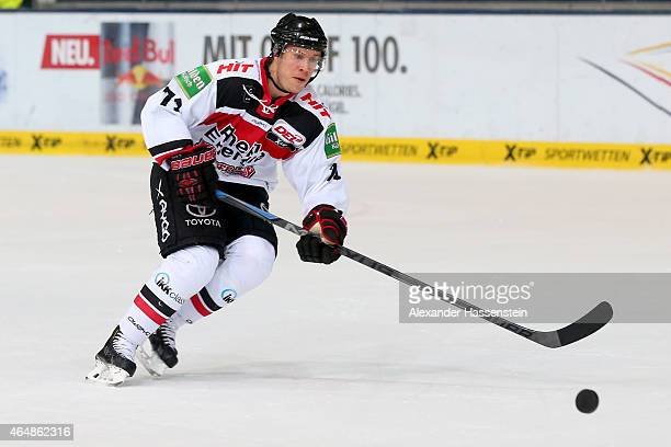 Andreas Falk of Koeln during the DEL Ice Hockey match between EHC Red Bull Muenchen and Koelner Haie at Olympia Eishalle on March 1 2015 in Munich...