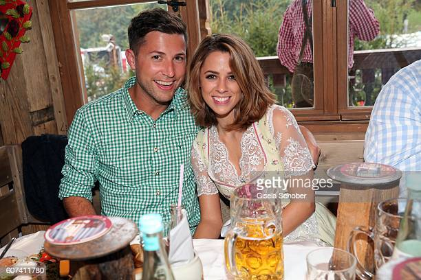 Andreas Ferber and his girlfriend Vanessa Mai during the opening of the oktoberfest 2016 at the 'Kaeferschaenke' beer tent at Theresienwiese on...