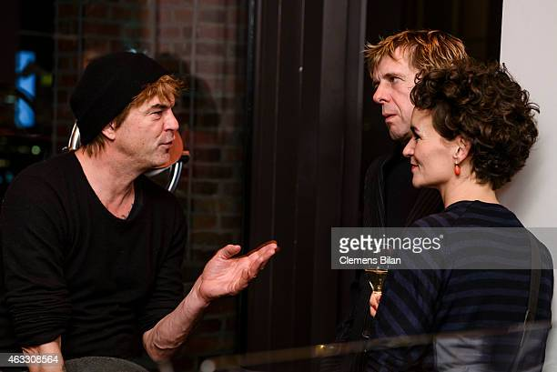 Andreas Frege aka Campino and Andreas Meurer aka Andi of the band Die Toten Hosen and a guest attend the WarmUp at the Glashuette Original lounge...