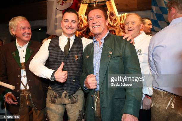 Andreas Gabalier and Arnold Schwarzenegger during the 27th Weisswurstparty at Hotel Stanglwirt on January 19 2018 in Going near Kitzbuehel Austria