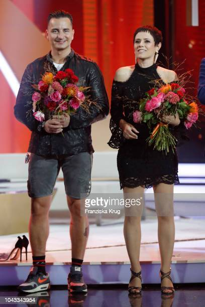 Andreas Gabalier and Francine Jordi during the television show 'Willkommen bei Carmen Nebel' at Velodrom on September 29 2018 in Berlin Germany