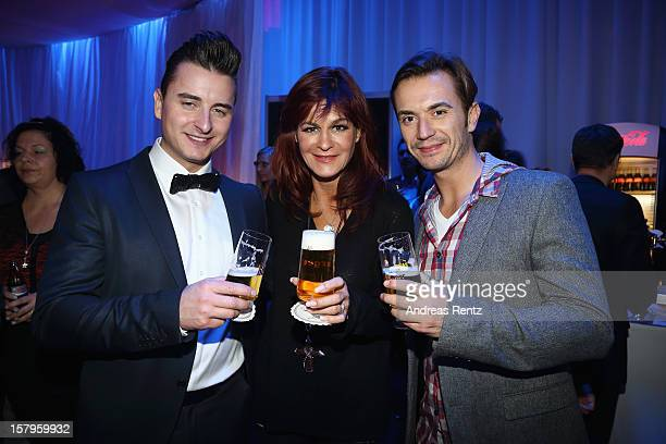 Andreas Gabalier, Andrea Berg and Florian Silbereisen attend the after show party to the Andrea Berg 'Die 20 Jahre Show' on December 6, 2012 in...