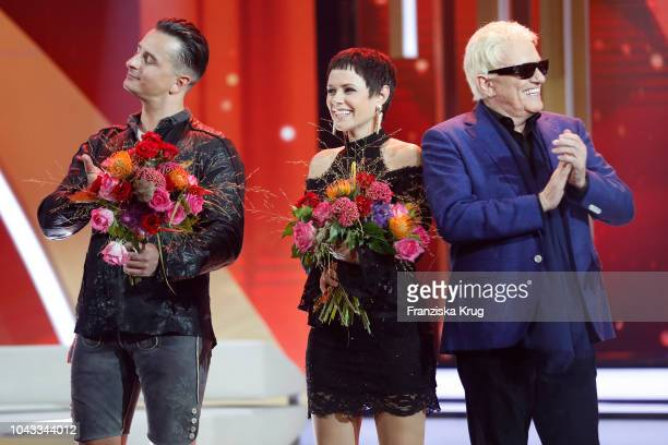 Andreas Gabalier Francine Jordi and HeinzGeorg Kramm during the television show 'Willkommen bei Carmen Nebel' at Velodrom on September 29 2018 in...