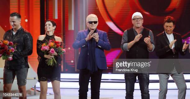 Andreas Gabalier Francine Jordi HeinzGeorg Kramm Gerry Friedle and Fredi Malinowski during the television show 'Willkommen bei Carmen Nebel' at...