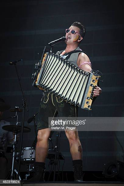 Andreas Gabalier performs on stage at Konigsplatz on July 12 2014 in Munich Germany