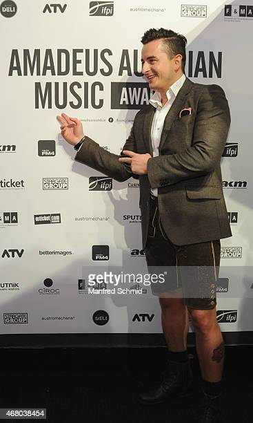 Andreas Gabalier poses for a photograph during the Amadeus Austrian Music Awards 2015 at Volkstheater on March 29 2015 in Vienna Austria