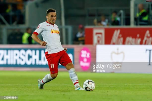 Andreas Geipl of Jahn Regensburg controls the ball during the Second Bundesliga match between SSV Jahn Regensburg and SG Dynamo Dresden on September...