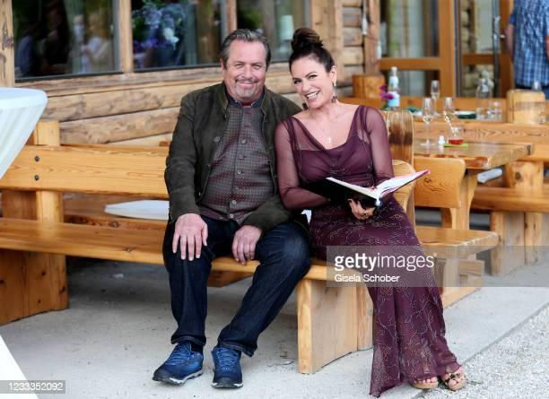 "Andreas Giebel and Christine Neubauer pose during the 3rd season ""Watzmann ermittelt"" photocall for ""Die verkaufte Braut"" on June 8, 2021 at..."