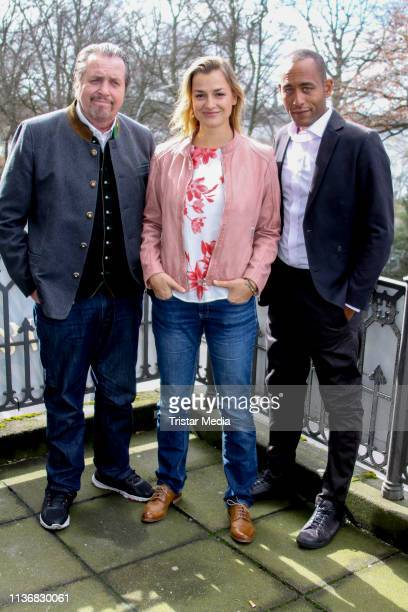 Andreas Giebel Ines Lutz and Peter Marton attend the photo call of the tv series Watzmann ermittelt at Literaturhaus on March 19 2019 in Hamburg...
