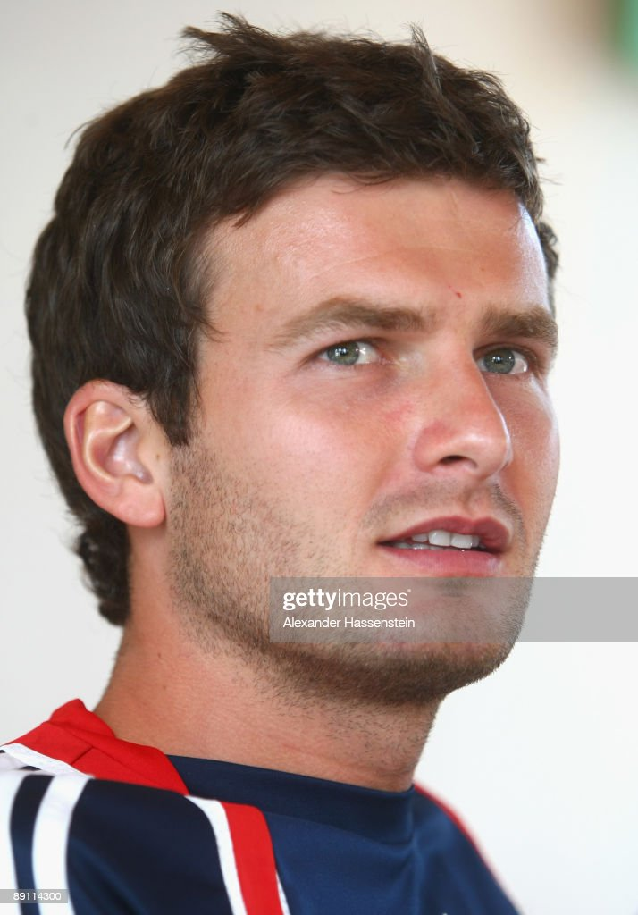 Andreas Goerlitz of Bayern Muenchen looks on during a press conference at day three of the FC Bayern Muenchen training camp on July 20, 2009 in Donaueschingen, Germany.