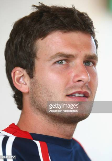 Andreas Goerlitz of Bayern Muenchen looks on during a press conference at day three of the FC Bayern Muenchen training camp on July 20 2009 in...