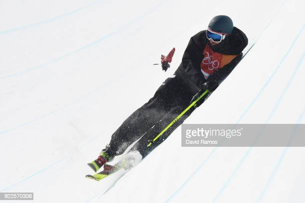 Andreas Gohl of Austria crashes and looses his binding during the Freestyle Skiing Men's Ski Halfpipe Final on day thirteen of the PyeongChang 2018...