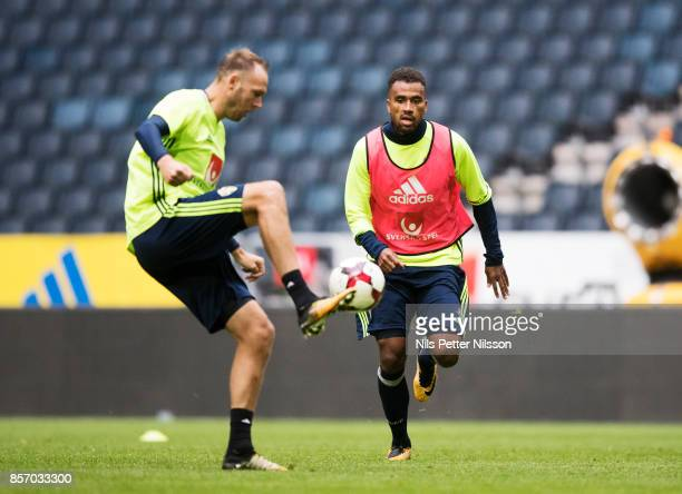 Andreas Granqvist and Isaac Kiese Thelin of Sweden during the FIFA 2018 World Cup Qualifier between Sweden and Luxembourg at Friends arena on October...