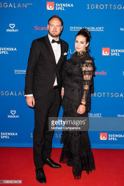 Andreas Granqvist and wife Sofie Granqvist walk the red carpet during Idrottsgalan the annual Swedish Sports Awards Gala at the Ericsson Globe Arena...